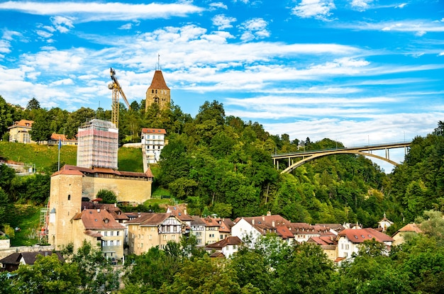 Medieval fortifications and gotteron bridge in fribourg, switzerland