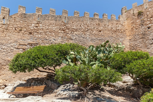 Medieval fortress historical ruins of the ancient fortress wooden bench and three green trees
