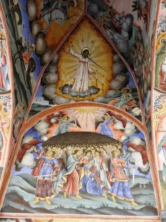 Medieval frescoes in the rila monastery.