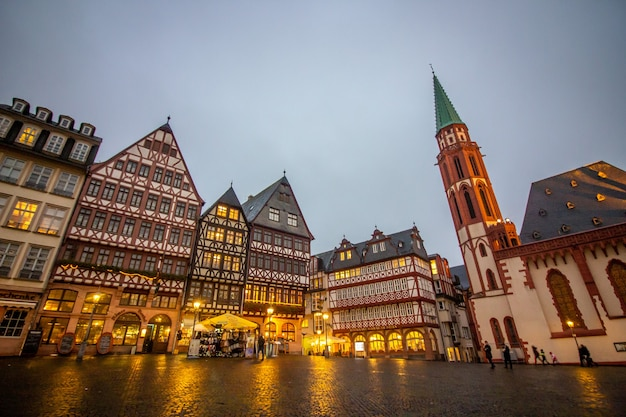 Medieval historical buildings at old town square in frankfurt, germany