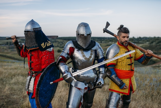 Medieval knights with swords and axe poses in armour, great fighter. armored ancient warriors in armor posing in the field