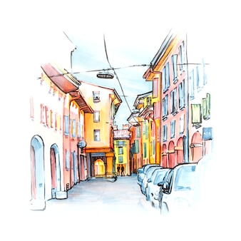晴れた日の旧市街、ボローニャ、エミリアロマーニャ、イタリアで明るい色の家々を持つ中世の通りポーチコ。ライナーとマーカーをスケッチ