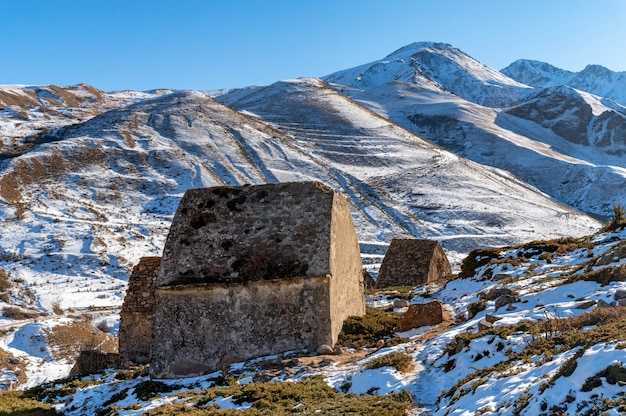 Medieval tombs in city of dead near eltyulbyu, kabardino-balkaria, russia