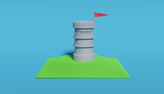 赤旗の中世の塔の3dレンダリング