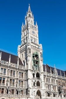 Medieval town hall building with spires munich germany.