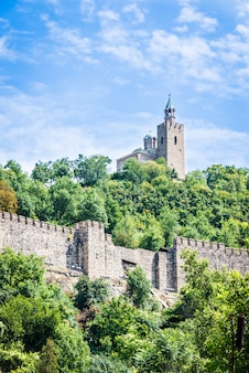 The medieval tsarevets fortress and the patriarchal church in veliko tarnovo, bulgaria.