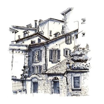 Средневековый верхний город читта альта бергамо, ломбардия, италия. рисунок сделал лайнер и маркеры