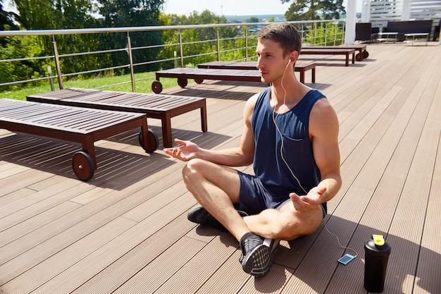 Meditating on spacious terrace