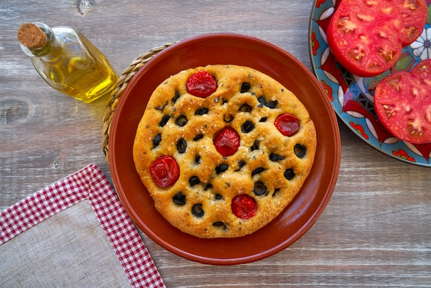 Mediterranean bread tomatoes and olives