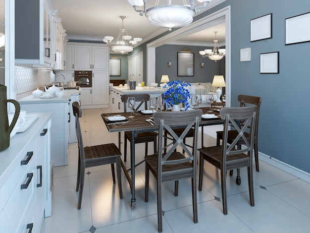Mediterranean dining room with kitchen on background of navy walls and glossy marble floor and served table for six person.