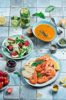 Mediterranean dishes on tiles