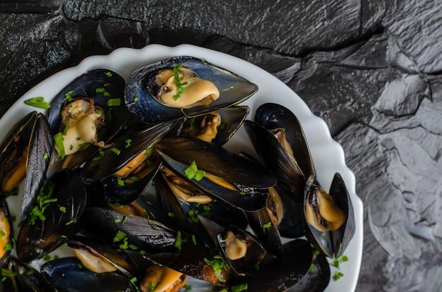 Mediterranean paleo diet food concept. steamed mussels