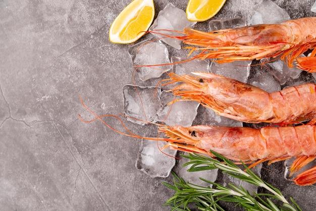 Mediterranean shrimps in flat lay