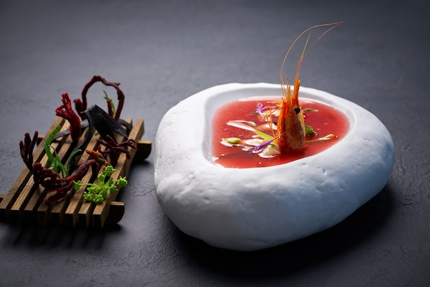 Mediterranean tomato soup with seafood