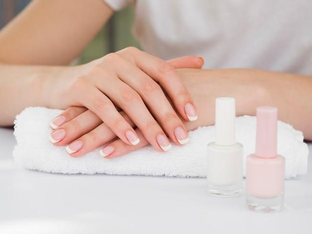 Medium close up manicured hands