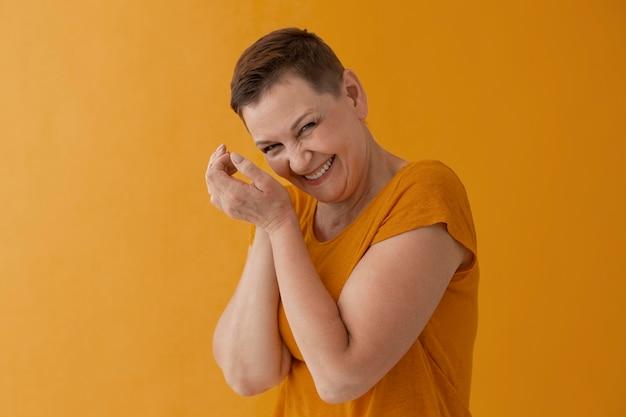 Medium shot adult woman posing