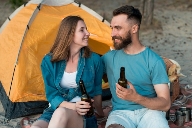 Medium shot camping couple