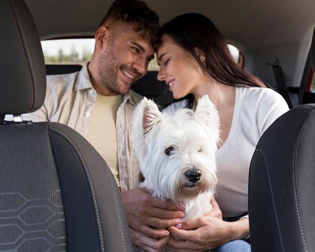 犬を抱いてミディアムショットのカップル