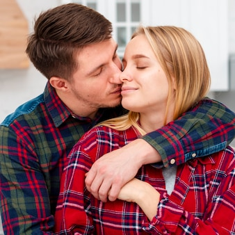 Medium shot couple in love on valentine's day