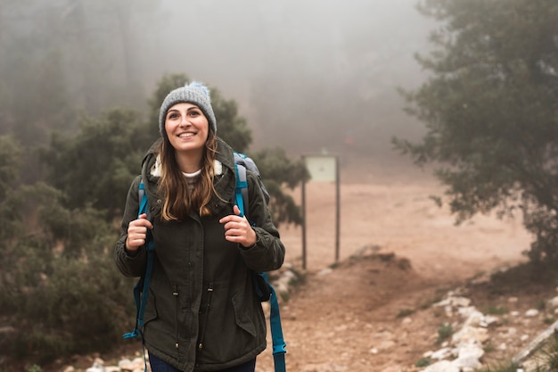 Medium shot excited woman in nature