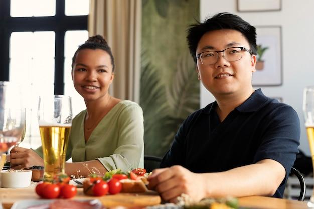 Medium shot friends reunion at restaurant