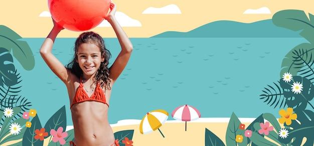 水着を着たミディアムショットの女の子