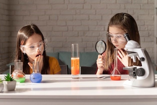 Medium shot girls learning science