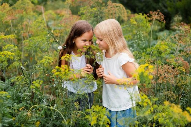 Ragazze di tiro medio che odorano di piante