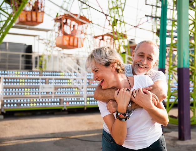 Medium shot happy adults having fun