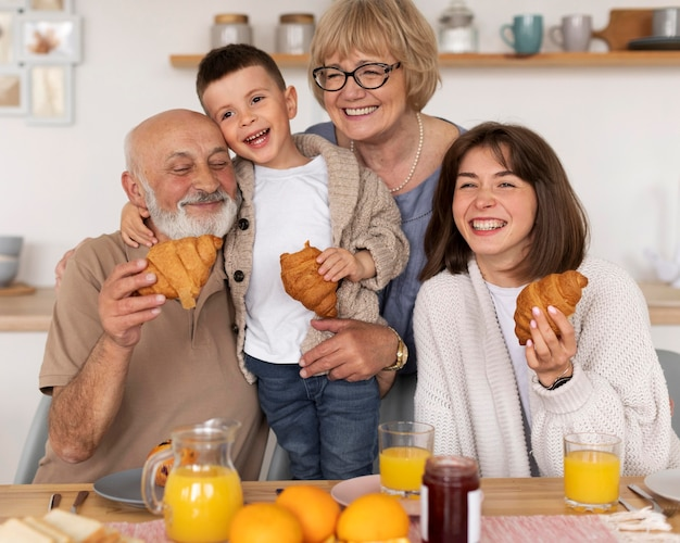 Medium shot happy family posing