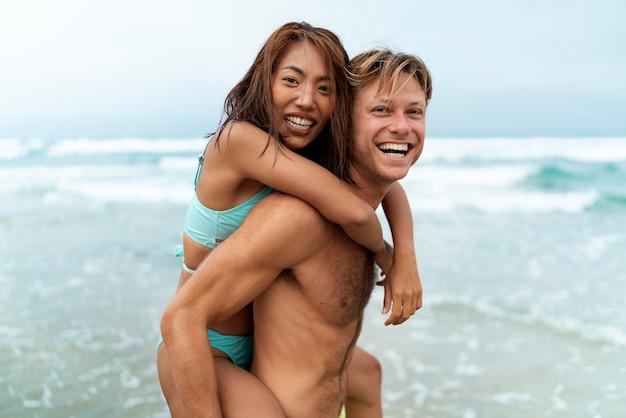 Medium shot happy man and woman