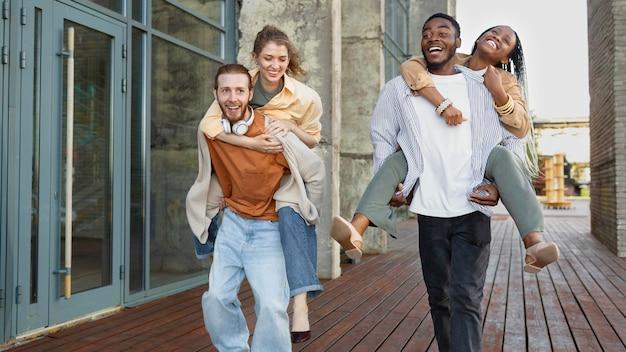 Medium shot happy people outdoors