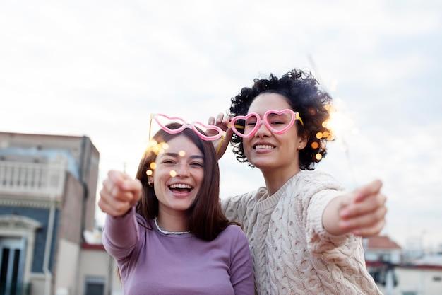 Medium shot happy women having fun