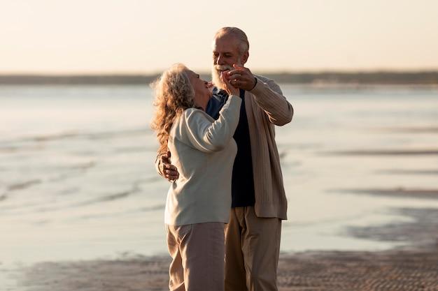 Medium shot love story senior couple