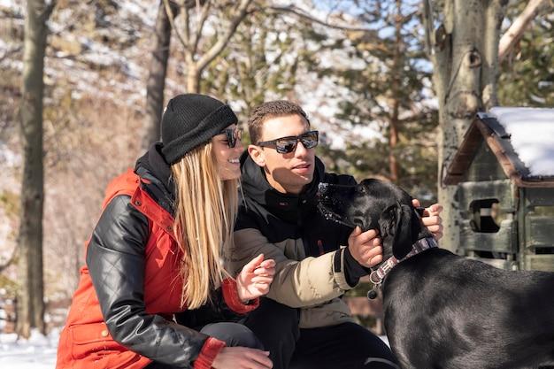 Medium shot man petting dog
