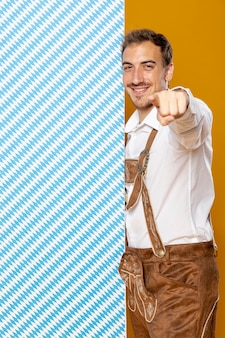Medium shot of man with patterned panel