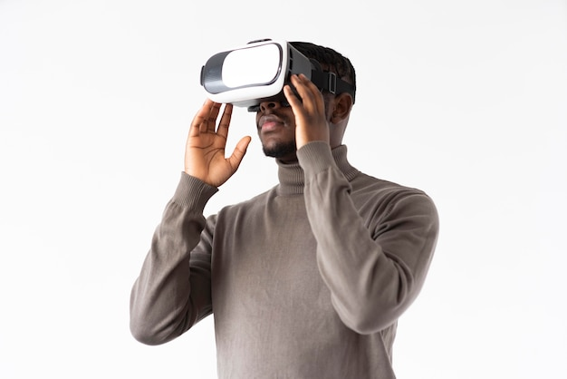 Medium shot man with vr glasses