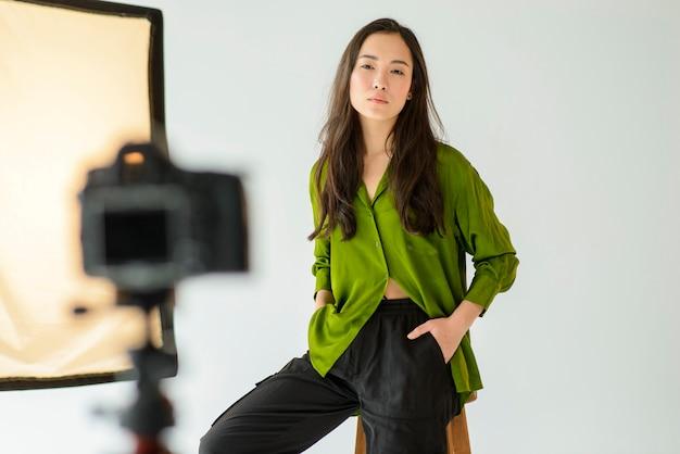 Medium shot model posing