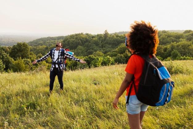 Medium shot people in nature