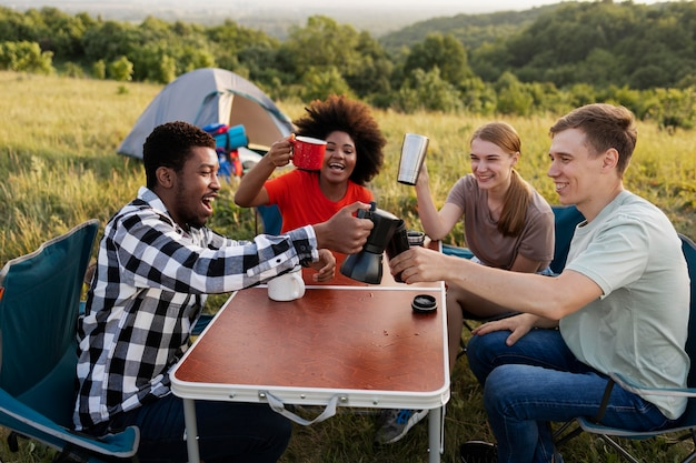 Medium shot people spending time in nature