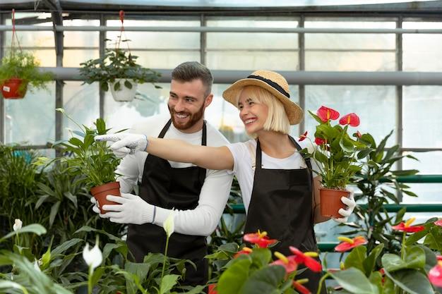 식물을 돌보는 중간 샷 사람들