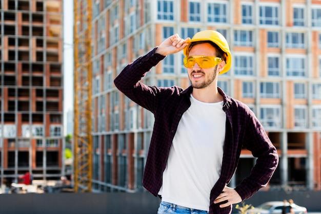 Medium shot portrait of architect looking away