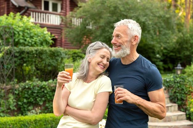 Medium shot senior romantic couple