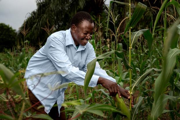 Coltivatore di smiley a colpo medio nel campo di mais