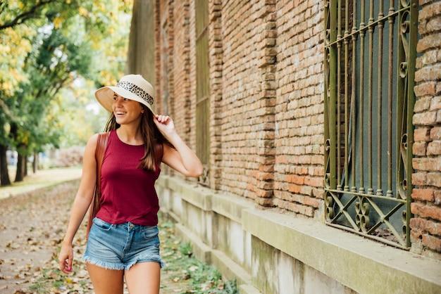 Medium shot of traveling woman