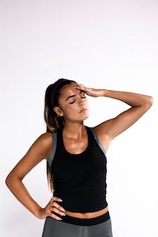 Medium shot woman expressing fatigue