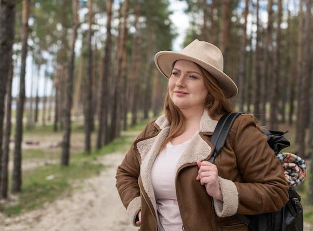 Medium shot woman outdoors