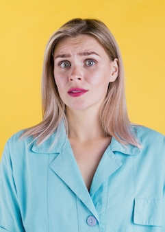 Medium shot of worried woman