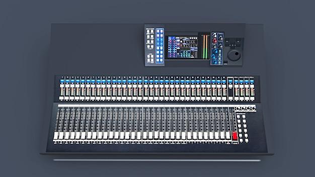 회색 배경에 스튜디오 작업 및 라이브 공연을위한 중간 크기의 회색 믹싱 콘솔. 3d 렌더링.