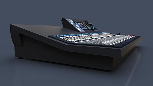 Серый микшерный пульт среднего размера для студийной работы и живых выступлений на сером фоне. 3d-рендеринг.
